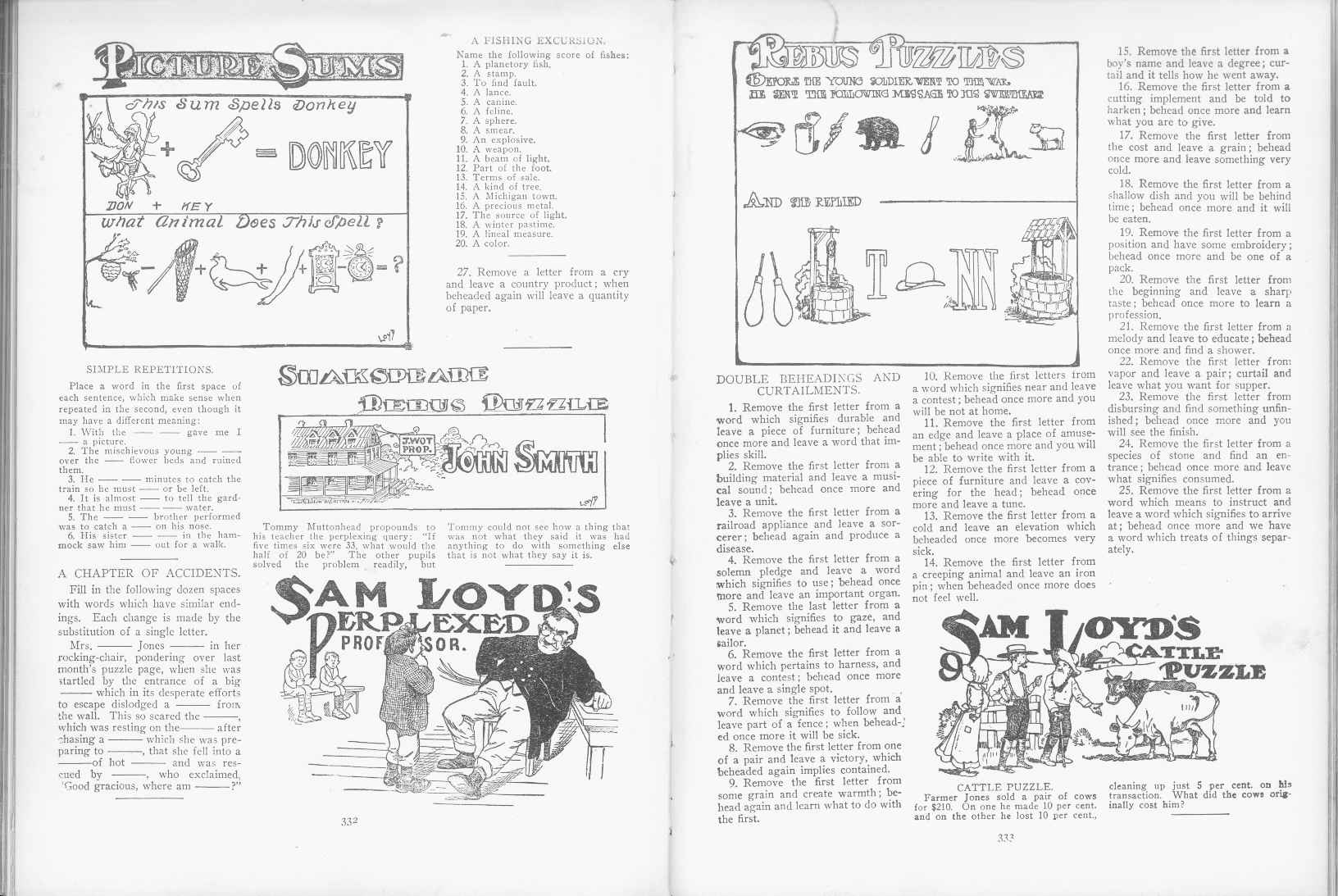 Sam Loyd - Cyclopedia of Puzzles - page 332-333
